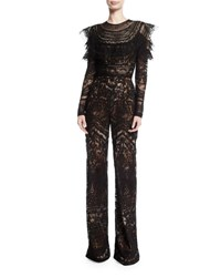 Naeem Khan Long Sleeve Lace Embroidered Jumpsuit Black