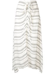 Proenza Schouler Crepe Stripe Tied Skirt White