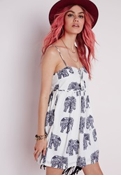 Missguided Lace Up Front Cami Dress White Elephant Print White