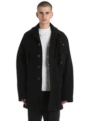 Damir Doma Oversized Double Wool Blend Coat Black