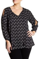 Daniel Rainn Printed Cold Shoulder Blouse Plus Size Multi