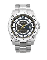 Bulova Mens Stainless Steel Chronograph Sports Watch Silver