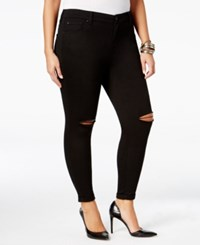 Celebrity Pink Trendy Plus Size Ripped Jeans Black