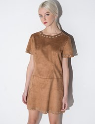 Pixie Market Brown Suede Eyelet Dress