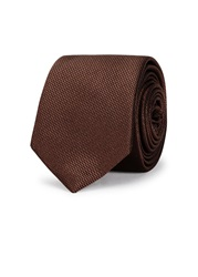 Peckham Rye Brown Jacquard Silk Satin Tie