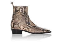 Balenciaga Women's Python Stamped Leather Ankle Boots Beige