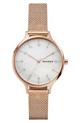 Skagen Women's Anita Mesh Strap Watch 36Mm Rose Gold Mop Rose Gold