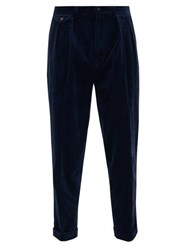 Polo Ralph Lauren Wide Leg Pleated Cotton Blend Corduroy Trousers Navy
