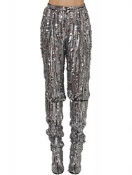 Alberta Ferretti High Waisted Sequined Pants Silver