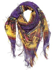 Etro Goa Printed Silk Scarf W Fringes Purple
