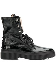 Tod's Studded Military Boots Black