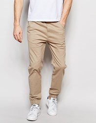 Solid Cuffed Chinos In Straight Fit Beige