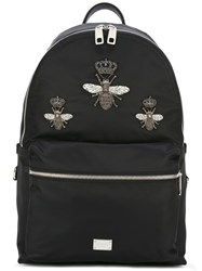 Dolce And Gabbana Volcano Crowned Bee Patch Backpack Black