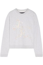 Needle And Thread Embroidered French Cotton Blend Terry Sweatshirt Stone