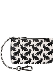 Dolce And Gabbana Cats Dauphine Leather Pouch With Chain White Black