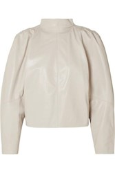 Isabel Marant Caby Gathered Leather Top Off White