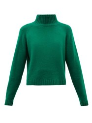 The Elder Statesman Highland Stand Collar Cropped Cashmere Sweater Green