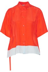 Emilio Pucci Asymmetric Washed Silk Top Bright Orange