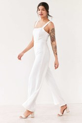 Silence And Noise Satin Straight Neck Jumpsuit White