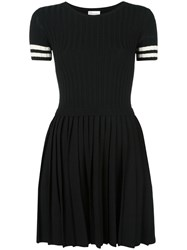 Red Valentino Striped Detail Flared Dress Black