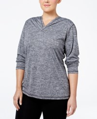 Ideology Plus Size Hooded Heathered Top Only At Macy's Noir