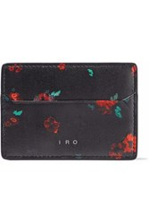 Iro Floral Print Leather Cardholder Black