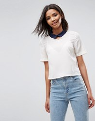 Louche Finelle Top With Contrast Collar Off White Cream