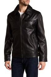 Cole Haan Spread Collar Genuine Leather Jacket Black