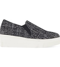 Kg By Kurt Geiger Lizard Tweed Flatform Slip On Trainers Grey Other