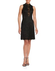 Betsy And Adam Lace Fit Flare Dress Black