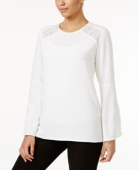 Alfani Lace Inset Top Only At Macy's Soft White