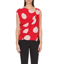 Anglomania Tine Polka Dot Print Crepe Top Red Stone