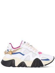 Versace 40Mm Squalo Mesh And Leather Sneakers White