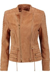 Balmain Asymmetric Quilted Suede Jacket Camel