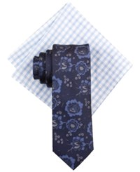 Tallia Men's Omo Floral Tie And Gingham Pocket Square Set Blue