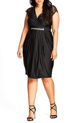 City Chic Plus Size Women's Flirty Drape Belted Faux Wrap Dress