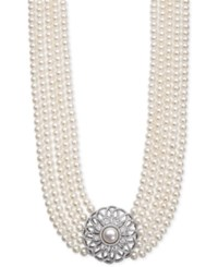 Belle De Mer Cultured Freshwater Pearl 5 And 9Mm And Cubic Zirconia Five Strand Pendant Necklace