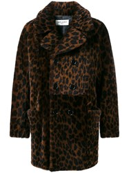 Saint Laurent Leopard Print Shearling Coat Brown