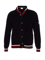Moncler Gamme Bleu Shawl Collar Ribbed Knit Cardigan Navy Multi