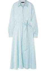 Stine Goya Baily Belted Floral Print Satin Dress Sky Blue