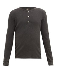 Rrl Waffle Knitted Cotton Henley Shirt Black