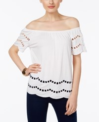 Inc International Concepts Off The Shoulder Peasant Top Only At Macy's Bright White