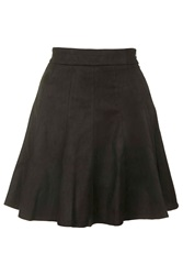 Faux Suede Mini Skater Skirt By Rare Black