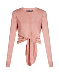 Dolce And Gabbana Tie Front Silk Knit Cardigan Pink