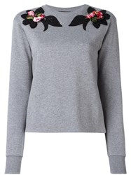 Dolce And Gabbana Embroidered Flower Sweatshirt Grey