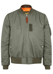 Schott Nyc Lmb6 Shell And Leather Bomber Jacket Sage