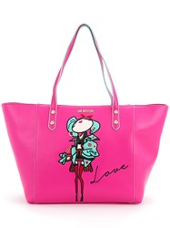 Love Moschino Doll Patch Shopping Bag Women Polyurethane One Size Pink Purple