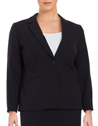 Tahari By Arthur S. Levine Plus Knit One Button Blazer Navy