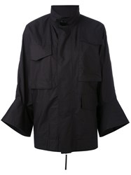 Marni Flared Cuff Military Style Jacket Women Cotton 40 Black