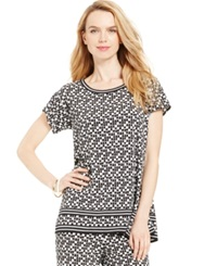Studio M Short Sleeve Geo Print Top Black White